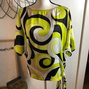 Michael Kors Pattern Side Tie Blouse Top